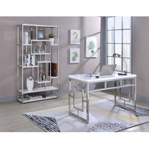 Alize 2-Piece Desk Set, White (Desk & Bookcase)