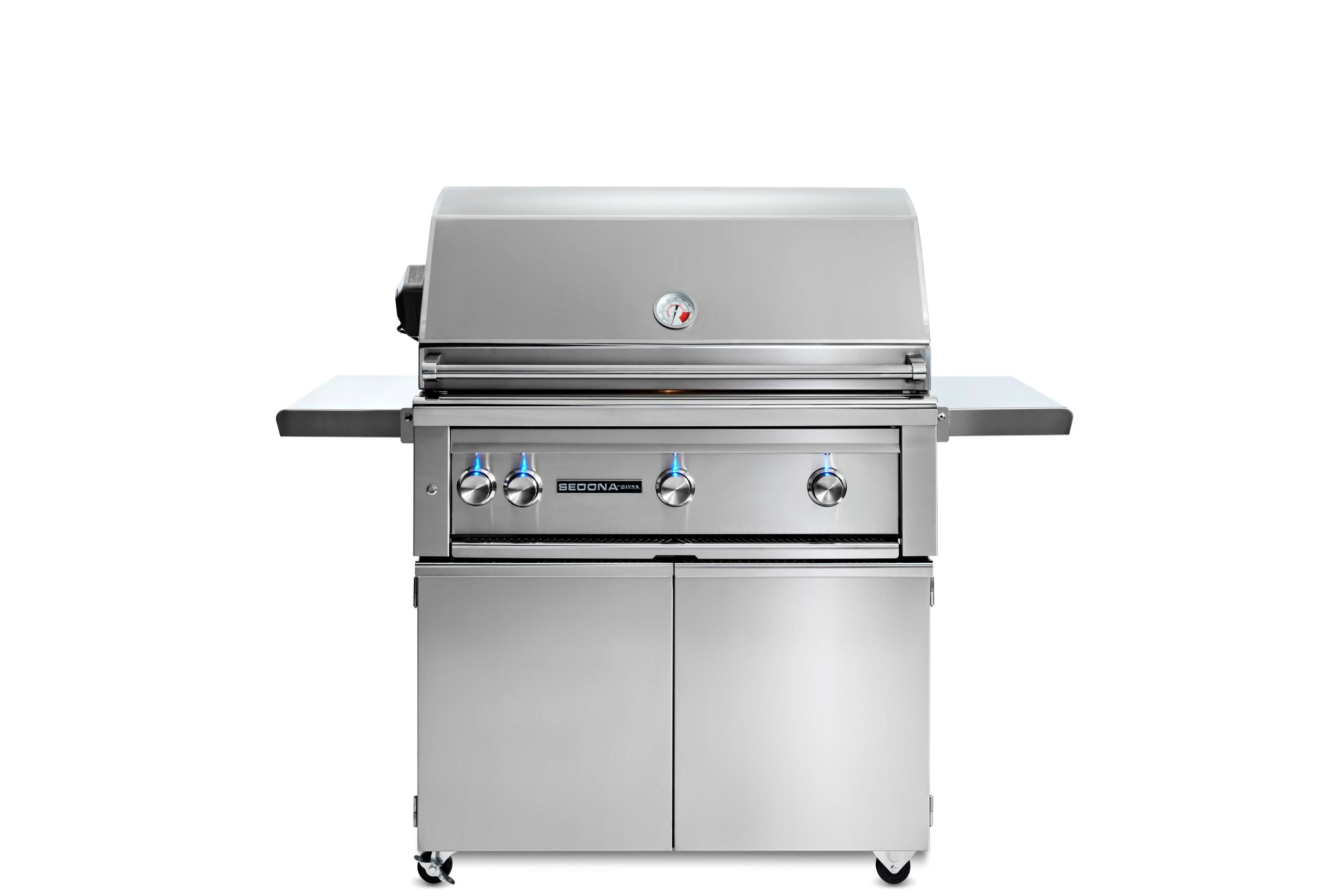 """Lynx36"""" Sedona By Lynx Freestanding Grill With 3 Stainless Steel Burners And Rotisserie, Ng"""
