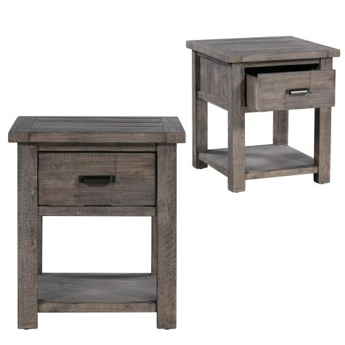 Crestview Collections - Pembroke Plantation Recycled Pine Distressed Grey 1 Drawer Rectangle End Table