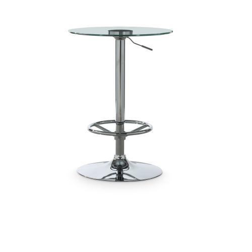 Adjustable Height and Round Glass Top Pub Table, Chrome