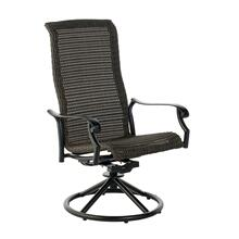 Biscayne High Back Dining Wicker Cast Swivel Rocker