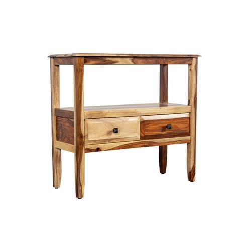 See Details - Sheesham Accents 2 Drawer Console Table, PDU-108
