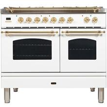 View Product - Nostalgie 40 Inch Dual Fuel Liquid Propane Freestanding Range in White with Brass Trim