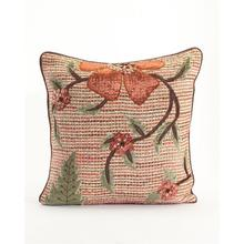 Copper Ribbon Weave Pillow with Floral Applique