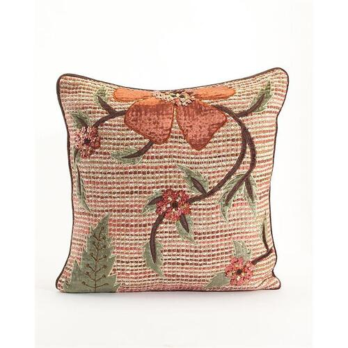 Copper Ribbon Weave Pillow with Floral Applique