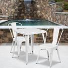"Commercial Grade 23.75"" Square White Metal Indoor-Outdoor Table Set with 2 Stack Chairs Product Image"