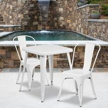 "Commercial Grade 23.75"" Square White Metal Indoor-Outdoor Table Set with 2 Stack Chairs"