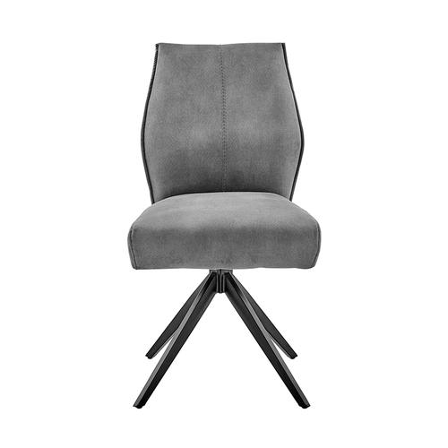 Armen Living - Monarch Swivel Dining Room Accent Chair in Charcoal Fabric and Black Finish - Set of 2