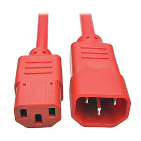 Heavy Duty PDU Power Cord, C13 to C14 - 15A, 250V, 14 AWG, 6 ft., Red