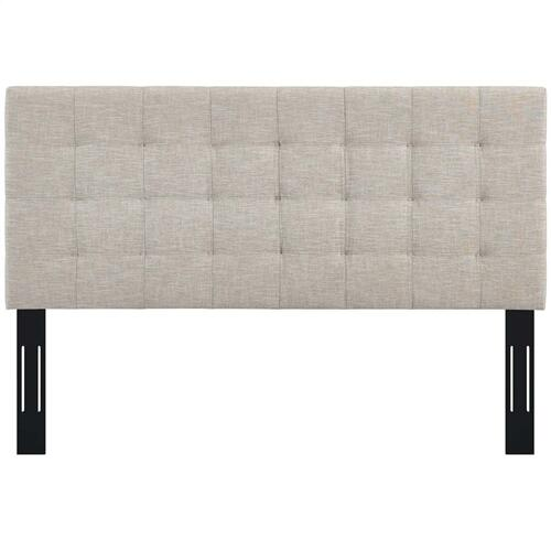 Paisley Tufted King and California King Upholstered Linen Fabric Headboard in Beige