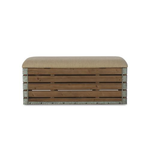 Padded Burlap Seat and Hidden Storage Bench, Brown