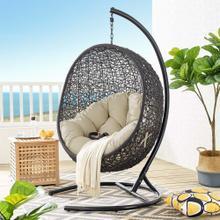 Encase Sunbrella® Swing Outdoor Patio Lounge Chair in Black Beige