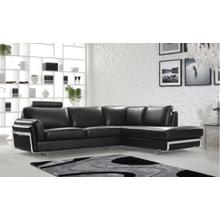 Divani Casa 0815 Modern Black Leather Sectional Sofa