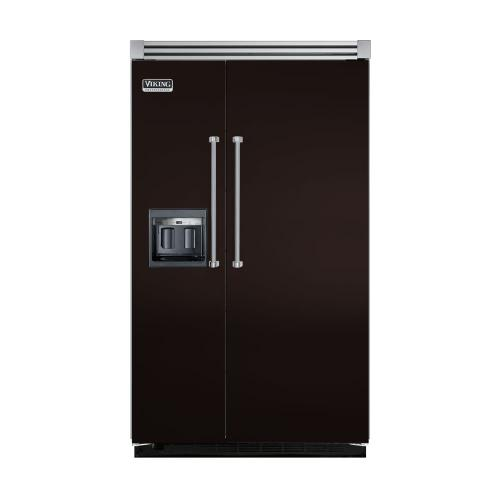 """Viking - Chocolate 48"""" Side-by-Side Refrigerator/Freezer with Dispenser - VISB (Integrated Installation)"""