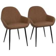 Clubhouse Dining Chair - Set Of 2 - Black Metal, Brown Pu, Grey Zig Zag Stitching