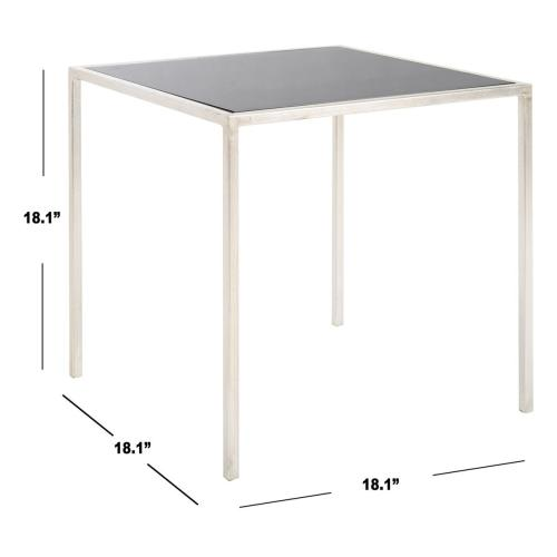 Kiley Silver Leaf Accent Table - Silver / Black