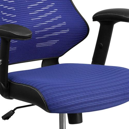 Gallery - High Back Designer Blue Mesh Executive Swivel Ergonomic Office Chair with Adjustable Arms