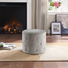 Curves Tufted Round Ottoman In Khaki Fabric