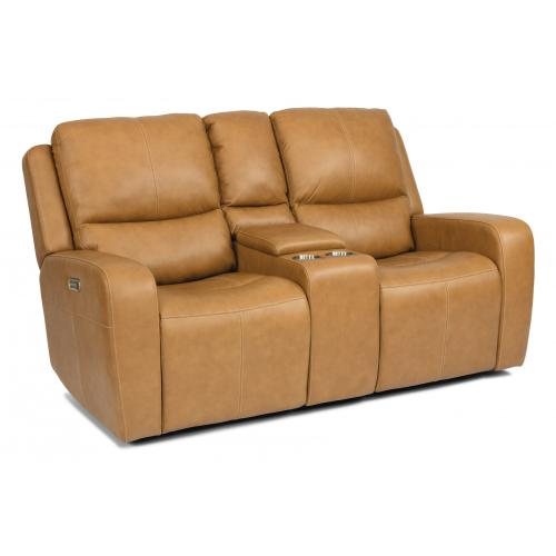 Product Image - Aiden Power Reclining Loveseat with Console & Power Headrests