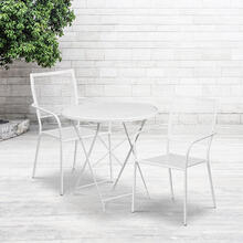 "Commercial Grade 30"" Round White Indoor-Outdoor Steel Folding Patio Table Set with 2 Square Back Chairs"