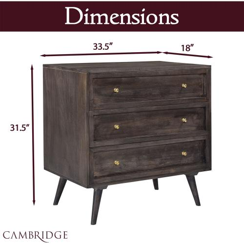 Cambridge Parkview 3-Drawer Mango Wood Chest in Gray, 33.5-In. W x 18-In. D x 31.5-In. H, 988009-GRY