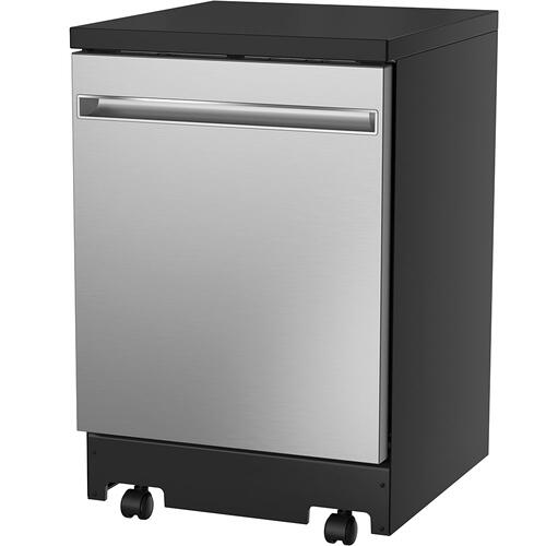 """GE Appliances Canada - GE 24"""" Stainless Steel Interior Portable Dishwasher Stainless Steel - GPT225SSLSS"""