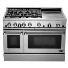 "Brushed Stainless Steel 48"" Prof. Gas Range"