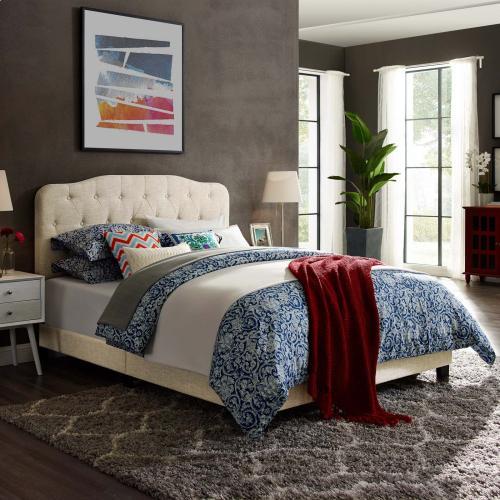 Amelia Queen Upholstered Fabric Bed in Beige