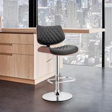 View Product - Leland Adjustable Black Faux Leather and Chrome Finish Bar Stool