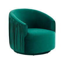 View Product - London Forest Green Pleated Swivel Chair