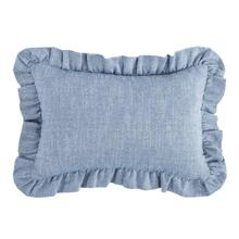 Chambray Ruffled Lumbar Pillow, Denim Blue