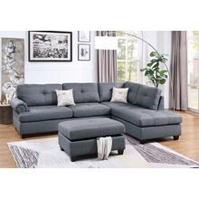 Nika 3pc Sectional Sofa Set, Blue-grey