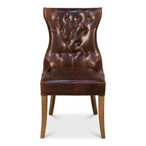 Sophie Side Chair, Dark Brown Leather