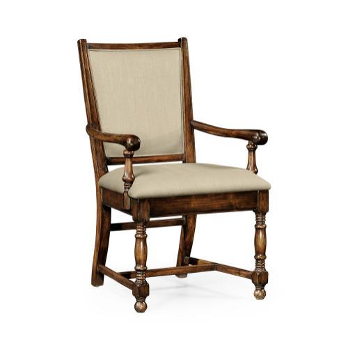 Walnut Medium Arm Chair Antique Caviar Black Leather Upholstery