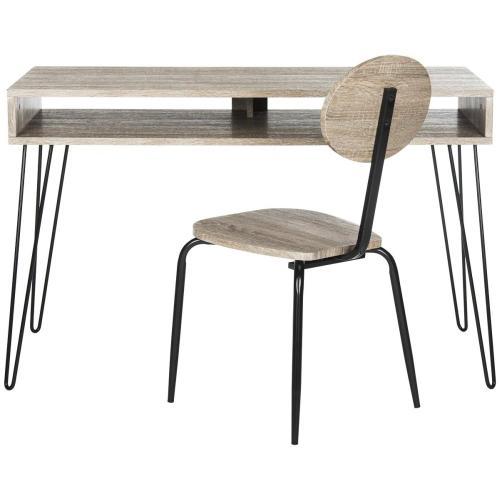 Winta 47 - Inch Retro Writing Desk + Chair - Grey & Black
