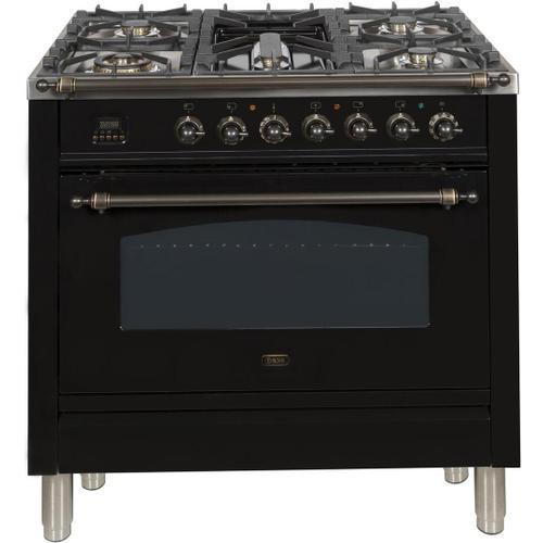 Ilve - Nostalgie 36 Inch Dual Fuel Liquid Propane Freestanding Range in Glossy Black with Bronze Trim