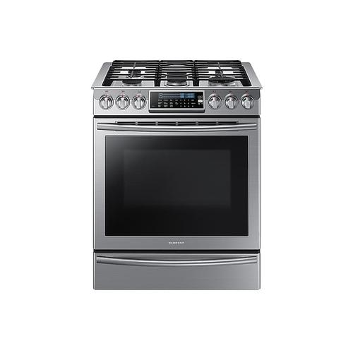 Samsung - 5.8 cu. ft. Slide-In Gas Range with True Convection in Stainless Steel
