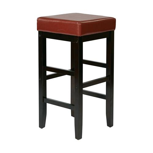 "30"" Square Red Faux Leather Barstool With Espresso Legs"