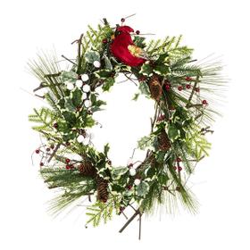 Light Up LED Christmas Wreath with Cardinal