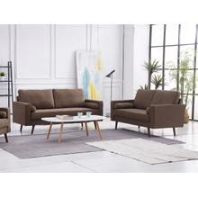 See Details - 8115 2PC BROWN Linen Stationary Living Room SET