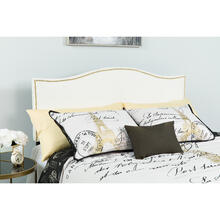 See Details - Lexington Upholstered King Size Headboard with Accent Nail Trim in White Fabric