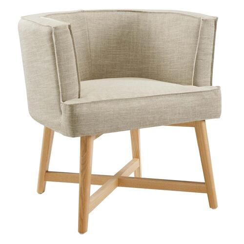Anders Accent Chair Upholstered Fabric Set of 2 in Beige