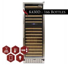 Kucht 166-Bottle Dual Zone Wine Cooler Built-in with Compressor in Stainless Steel