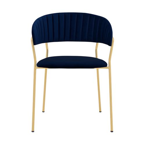 Armen Living - Nara Modern Blue Velvet and Gold Metal Leg Dining Room Chairs - Set of 2