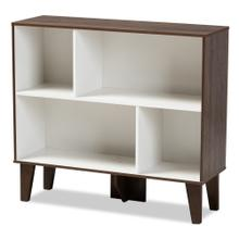 See Details - Baxton Studio Senja Modern and Contemporary Two-Tone White and Walnut Brown Finished Wood 4-Shelf Bookcase