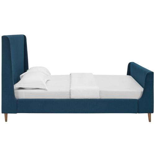 Aubree Queen Upholstered Fabric Sleigh Platform Bed in Azure