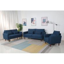 8155 3PC NAVY Linen Stationary Basic Living Room SET