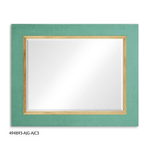 """""""Homespun"""" mirror (Robin's Egg/Gold)"""