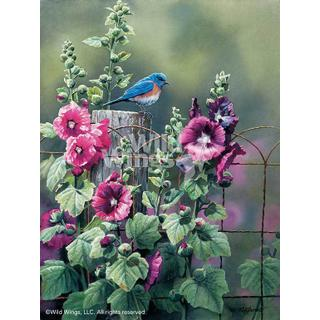 "Bluebird and Hollyhocks - Artist Proof Print 20""H x 15""W"