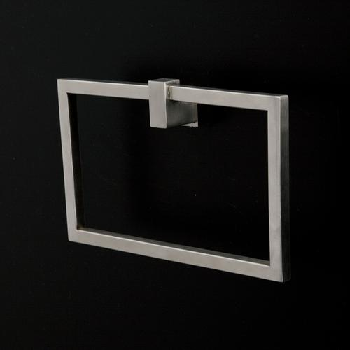 Wall-mount towel ring made of stainless steel.